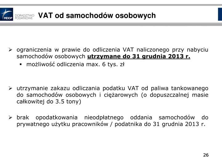 VAT od samochodów osobowych