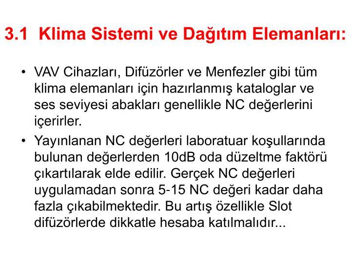 3.1  Klima Sistemi ve Dağıtım Elemanları: