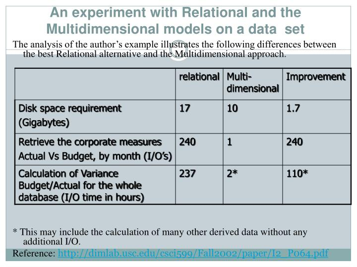An experiment with Relational and the Multidimensional models on a data  set