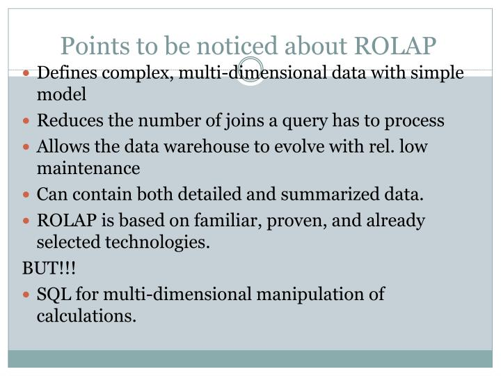 Points to be noticed about ROLAP