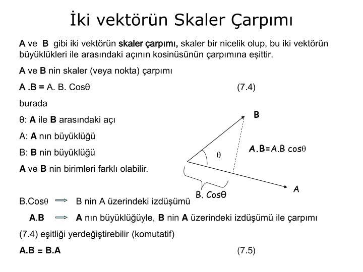 İki vektörün Skaler Çarpımı