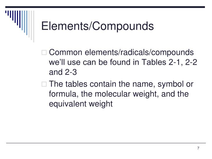 Elements/Compounds