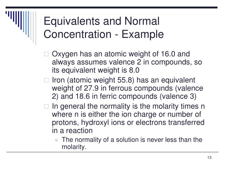 Equivalents and Normal Concentration - Example