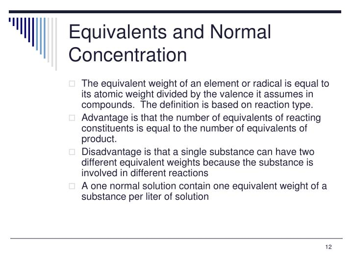 Equivalents and Normal Concentration
