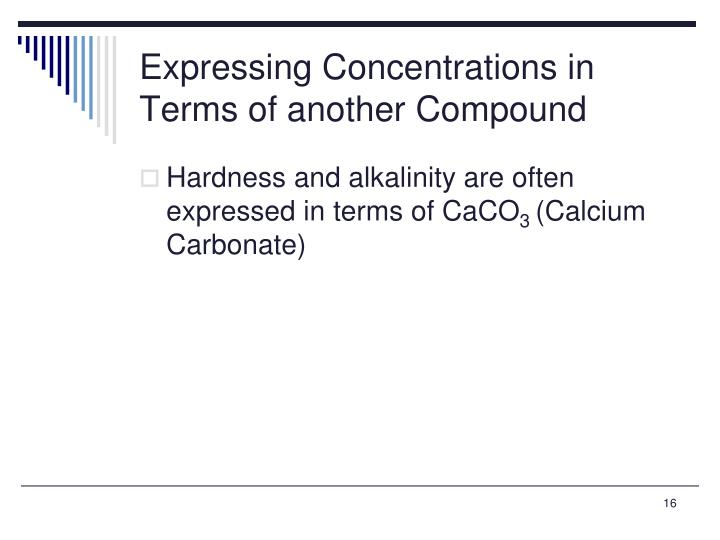 Expressing Concentrations in Terms of another Compound
