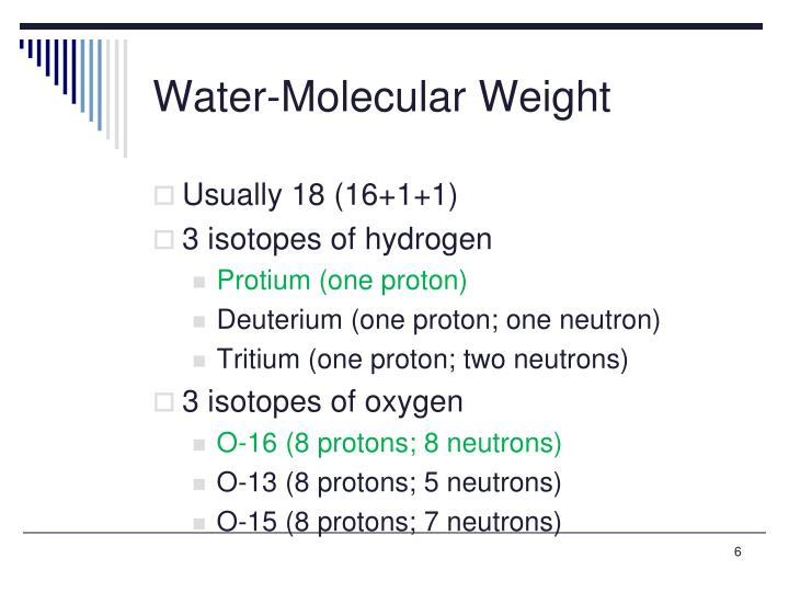 Water-Molecular Weight