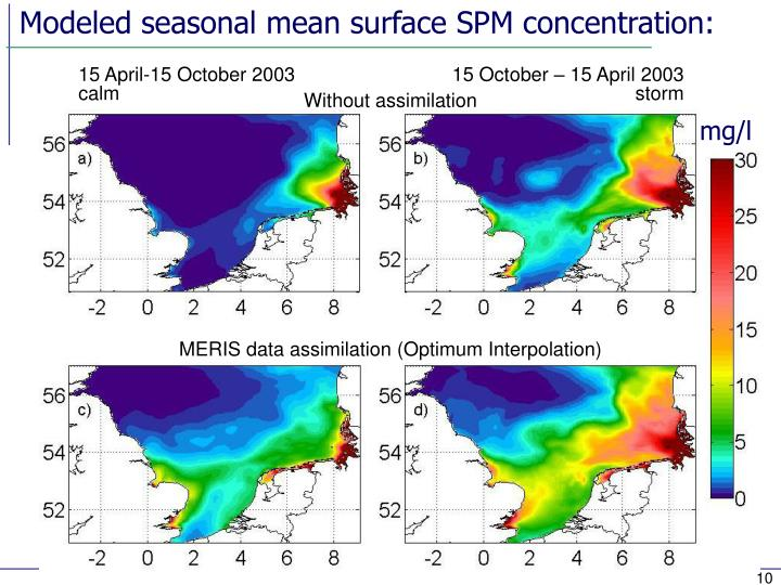 Modeled seasonal mean surface SPM concentration: