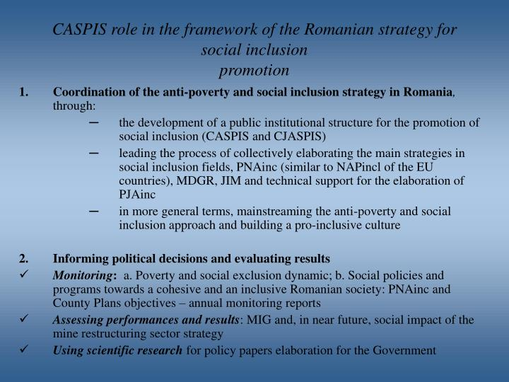 Caspis role in the framework of the romanian strategy for social inclusion promotion