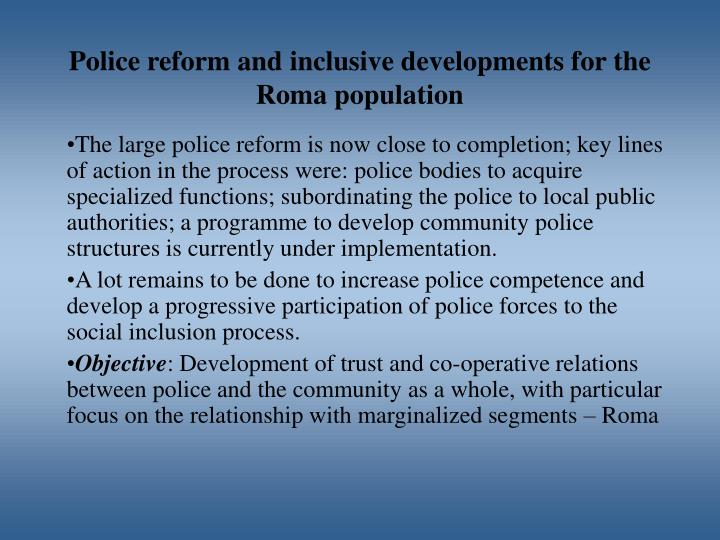 Police reform and inclusive developments for the Roma population