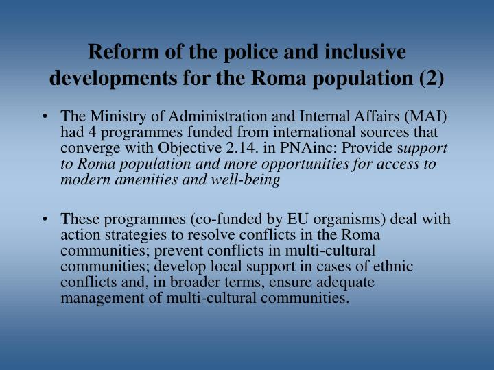 Reform of the police and inclusive developments for the Roma population (2)