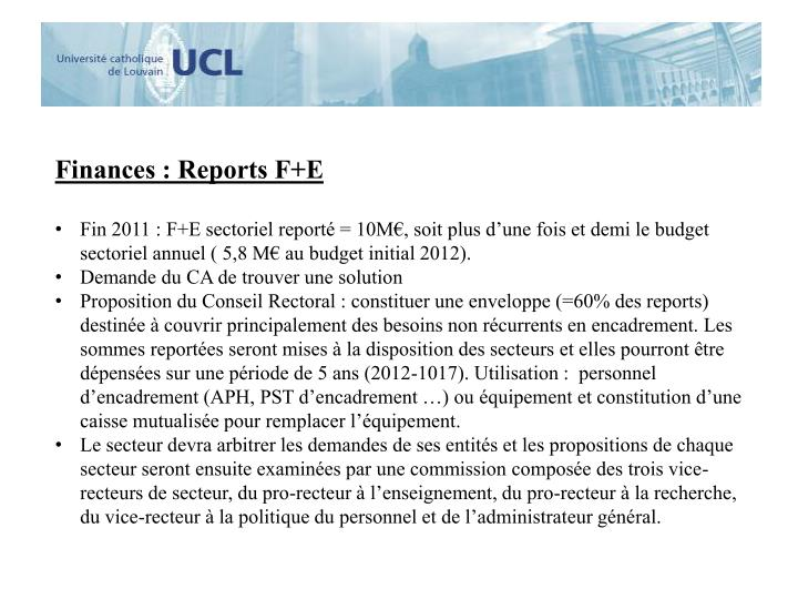 Finances : Reports F+E