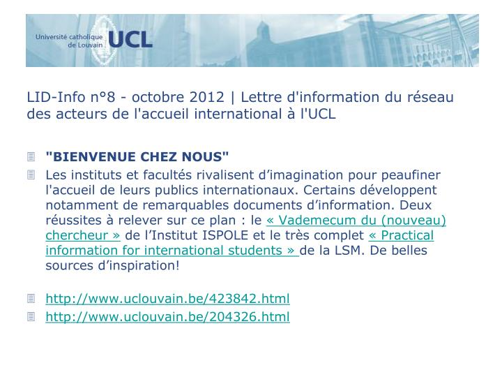 LID-Info n°8 - octobre 2012 | Lettre d'information du réseau des acteurs de l'accueil international à l'UCL
