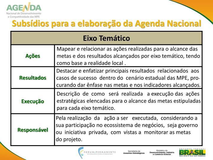 Subsídios para a elaboração da Agenda Nacional
