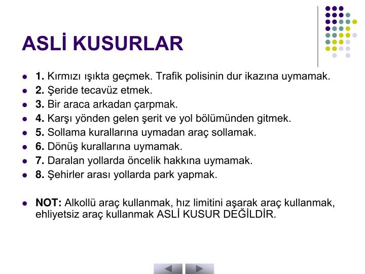 ASLİ KUSURLAR