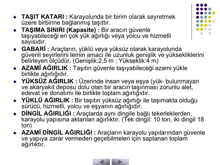 TAŞIT KATARI :