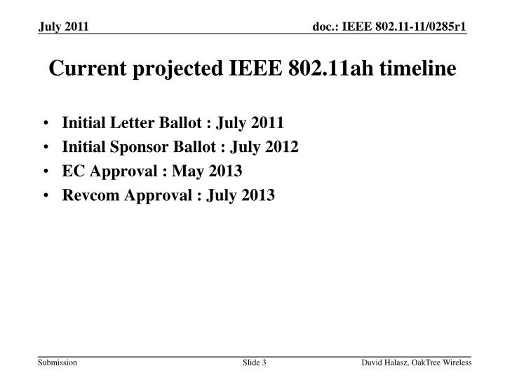 Current projected ieee 802 11ah timeline