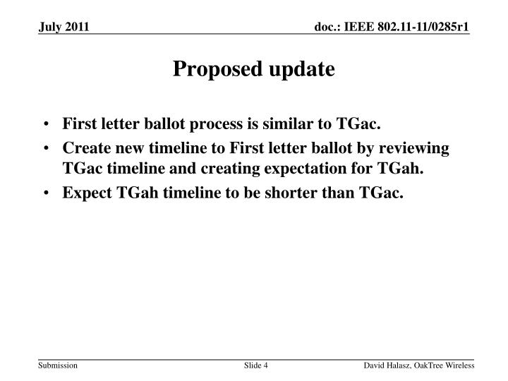 First letter ballot process is similar to
