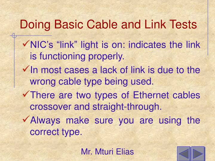 Doing Basic Cable and Link Tests