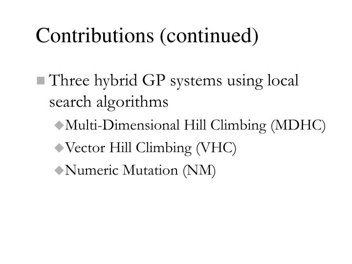 Contributions (continued)