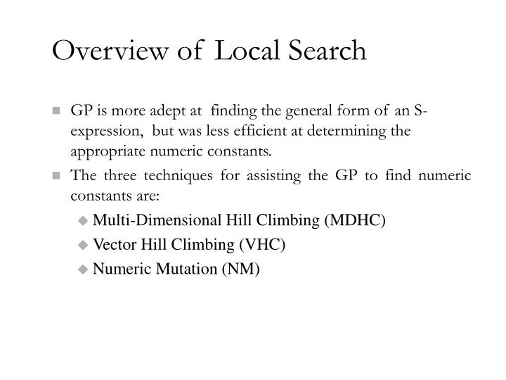 Overview of Local Search
