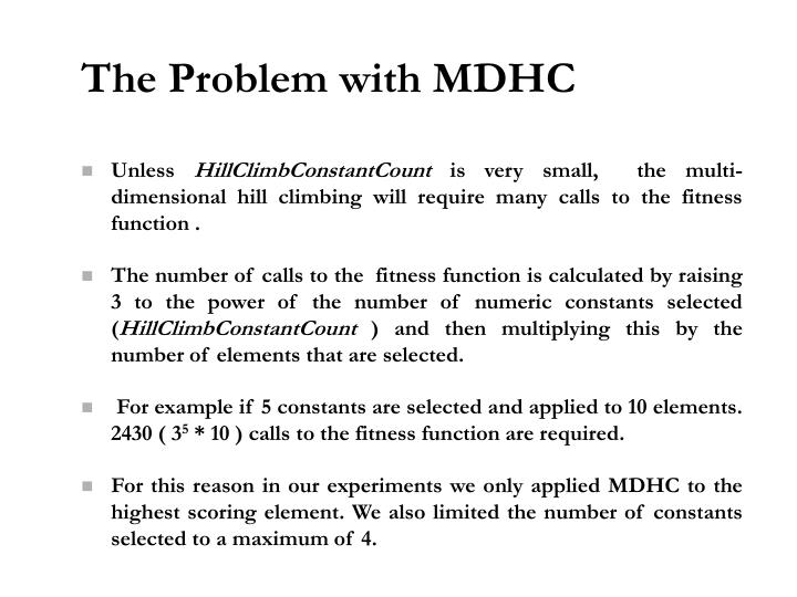 The Problem with MDHC