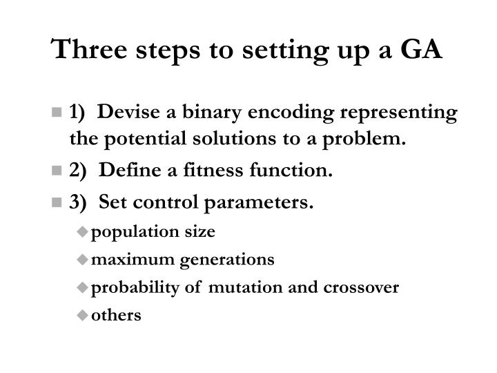 Three steps to setting up a GA