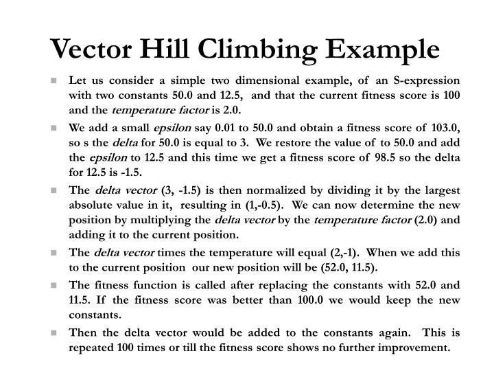 Vector Hill Climbing Example