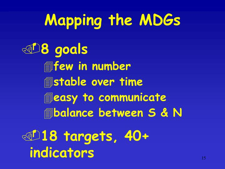 Mapping the MDGs
