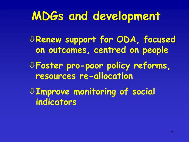 MDGs and development
