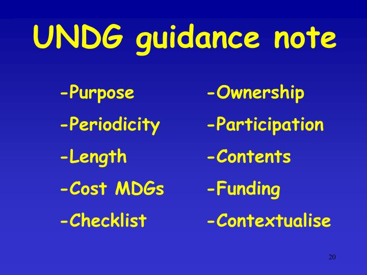 UNDG guidance note