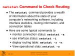 netstat command to check routing