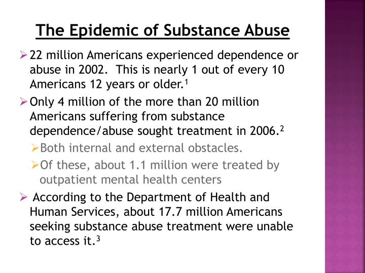 The Epidemic of Substance Abuse