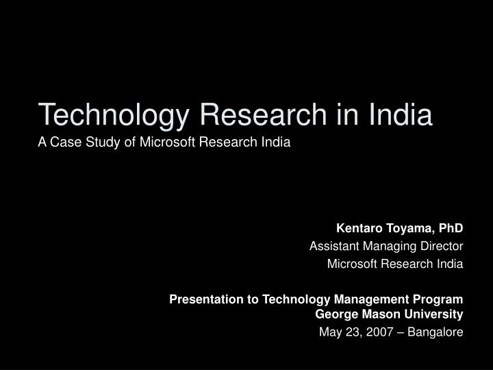 technology research in india n.