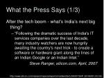 what the press says 1 3