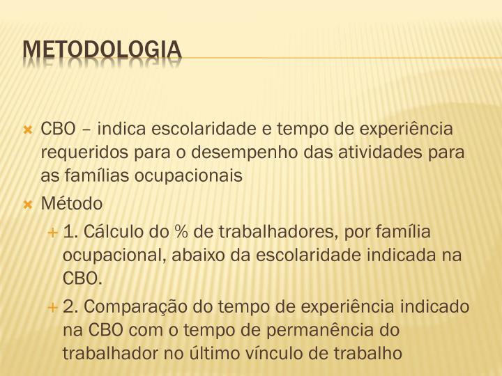 CBO – indica escolaridade e tempo de experiência requeridos para o desempenho das atividades para as famílias ocupacionais