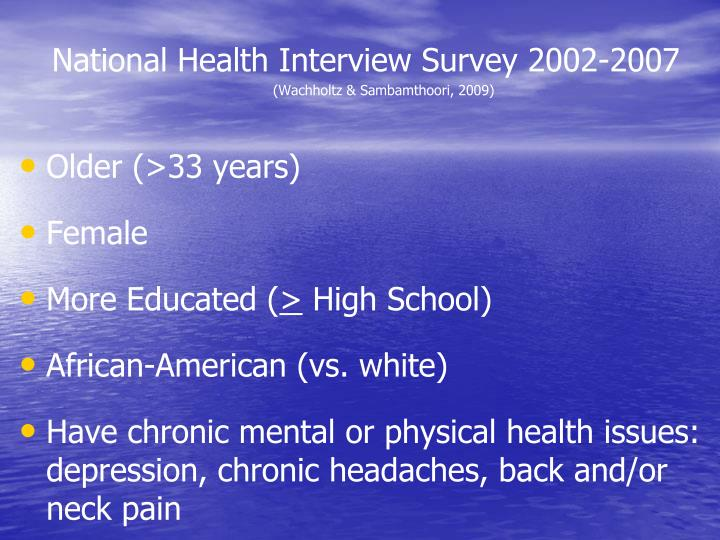 National Health Interview Survey 2002-2007