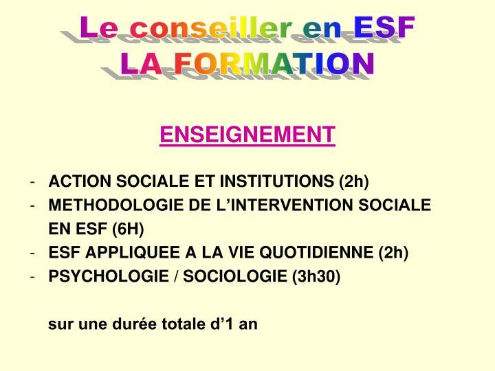 Le conseiller en ESF