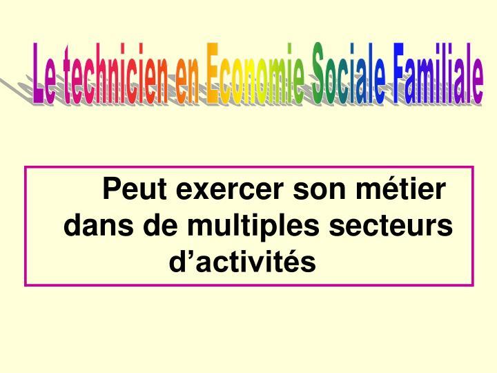 Le technicien en Economie Sociale Familiale
