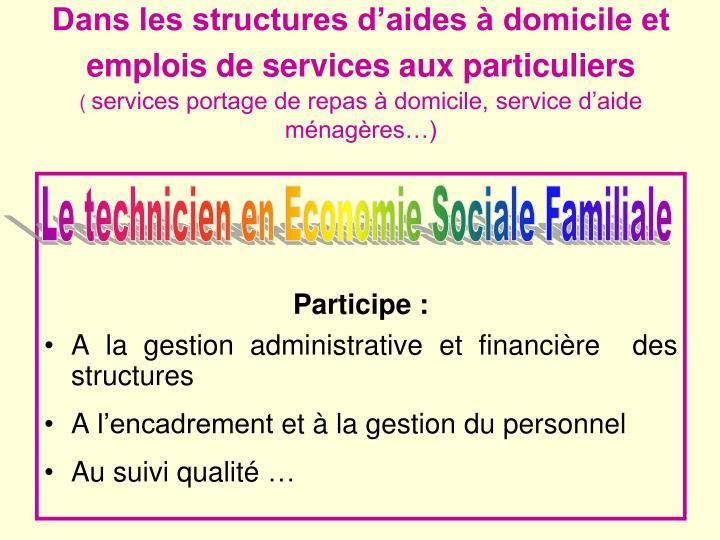 Dans les structures d'aides à domicile et emplois de services aux particuliers
