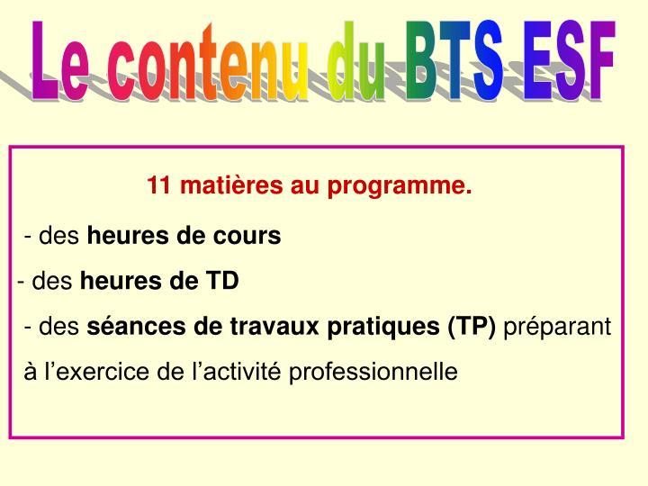 Le contenu du BTS ESF