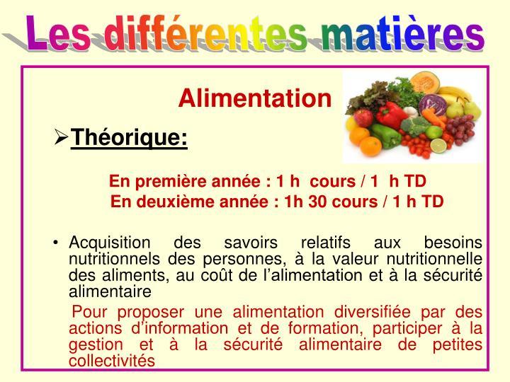 Les différentes matières