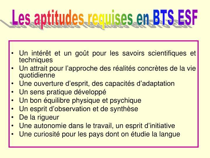 Les aptitudes requises en BTS ESF