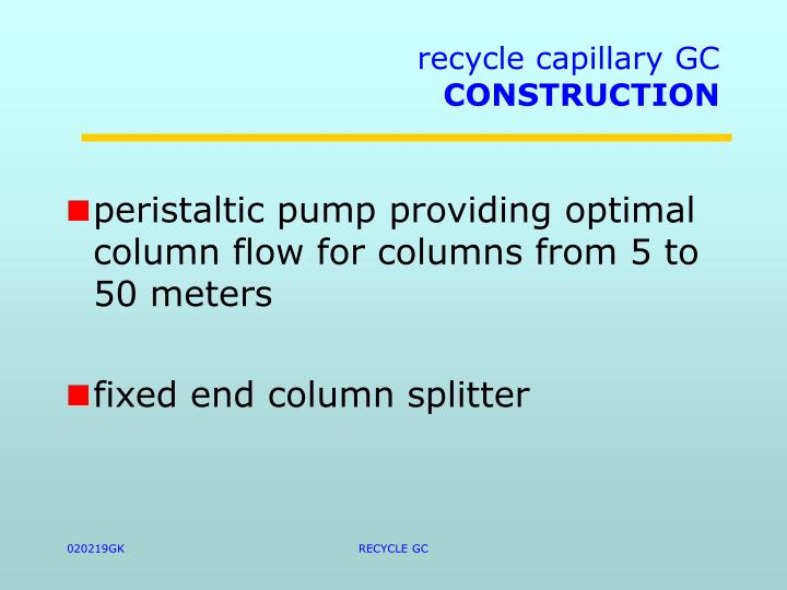 recycle capillary GC