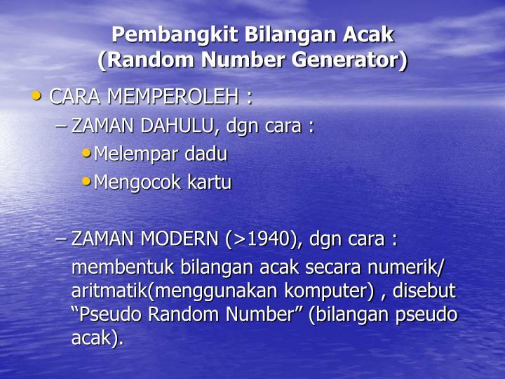 Pembangkit bilangan acak random number generator