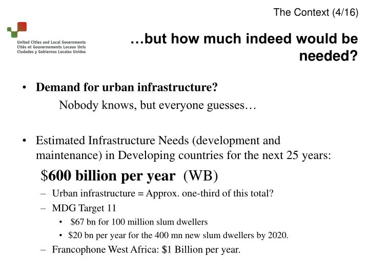 Demand for urban infrastructure?