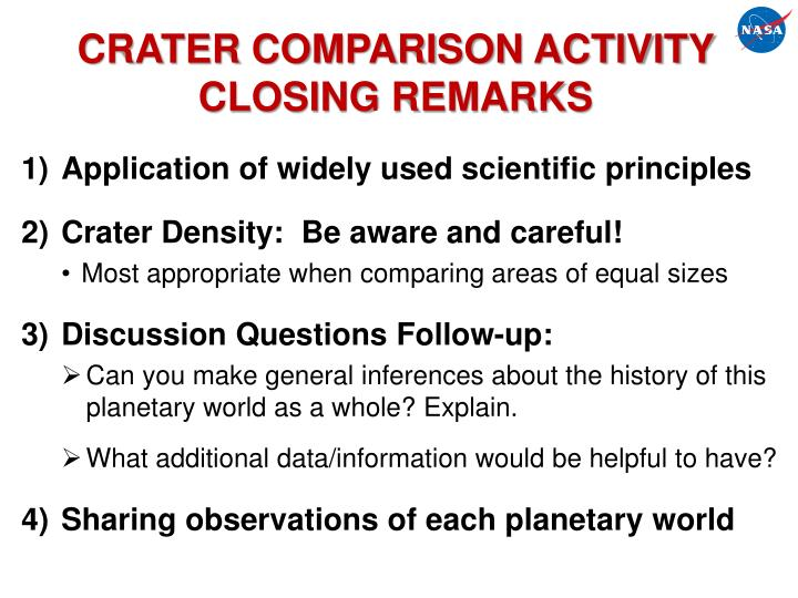 CRATER COMPARISON ACTIVITY