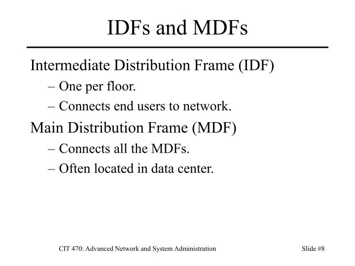 IDFs and MDFs