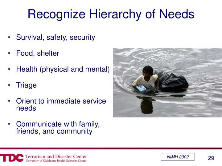 Recognize Hierarchy of Needs