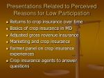 presentations related to perceived reasons for low participation