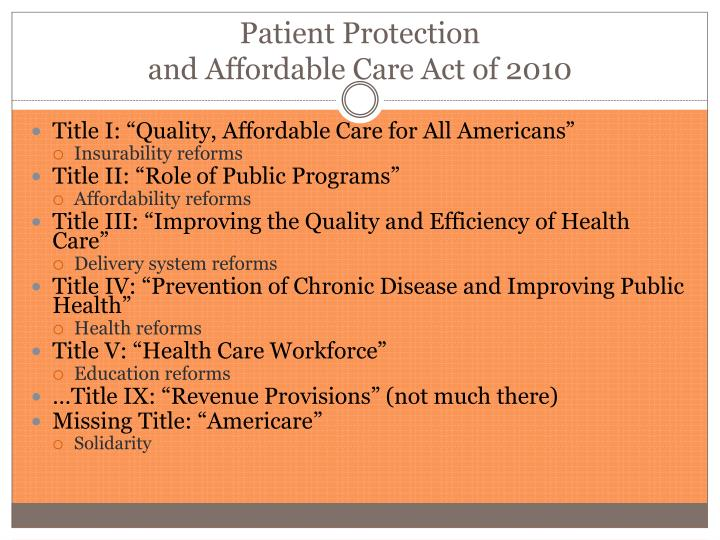 the patient protection and affordable care act essay Health care - patient protection and affordable care act.